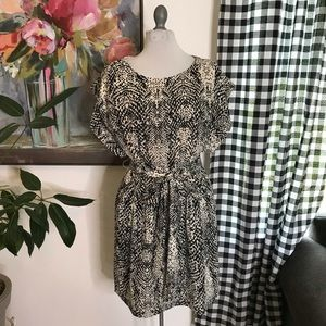 Eliza J Cream & Black Spotted Print Dress Sz 6 B8W